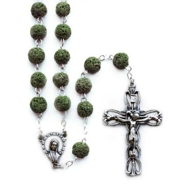 Rosary Green Lava Rock madonna Women Men Teens