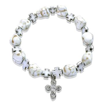Jasper Rosary Bracelet Cross Charm