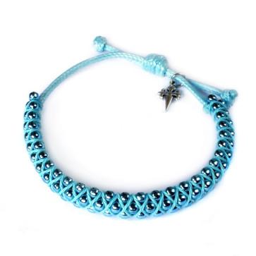 Adjustable Bracelet Blue Beads St. James Cross Men Women Teens