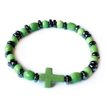Bracelet Hematite Green Beads Cross Elastic Women Teens Children