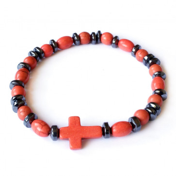Elastic Rosary Bracelet Orange Stone and Hematite Beads