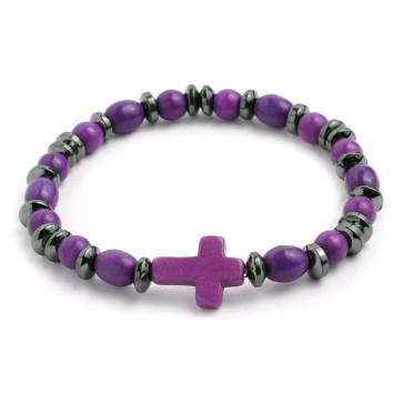 Elastic Rosary Bracelet Purple Stone and Hematite Beads