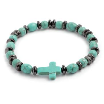Rosary Bracelet Turquoise Stone, Hematite Beads