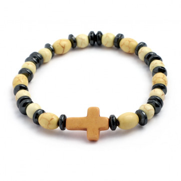Elastic Rosary Bracelet Yellow Stone and Hematite Beads