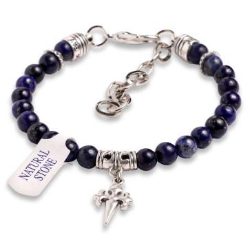 Rosary Bracelet Lapis Lazuli Beads St James Santiago Cross