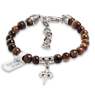 Rosary Bracelet Tiger Eye Beads St James Santiago Cross