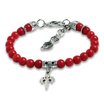 Rosary Bracelet Red Bamboo Coral Beads St James Santiago Cross