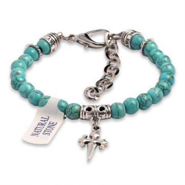 Rosary Bracelet Turquoise Magensite Beads St James Santiago Cross