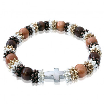 Wooden Bead Rosary Bracelet with Cross in-line