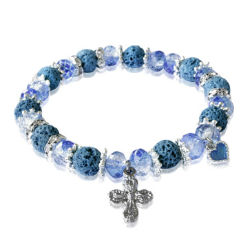 Rosary Bracelet Blue Lava Faceted Beads Cross and Heart Charm