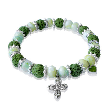 Rosary Bracelet Green Lava Faceted Beads with Cross and Heart Charm