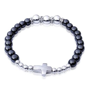 Devotional Hematite Beaded Bracelet with Metal Cross