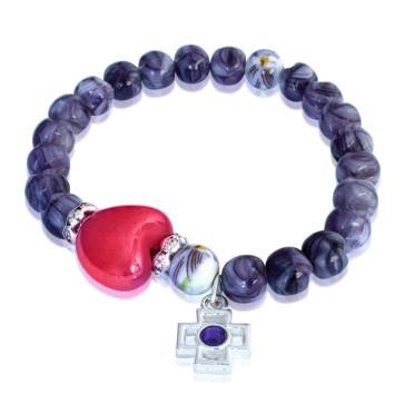 Bracelet Glass Beads Heart Cross Elastic women teens