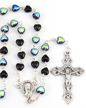 Heart Glass Beads Catholic Rosary