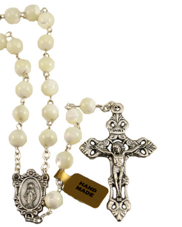 Miraculous Mother of Pearl Beads Catholic Rosary