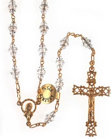Clear Swarovski Crystal Catholic Rosary