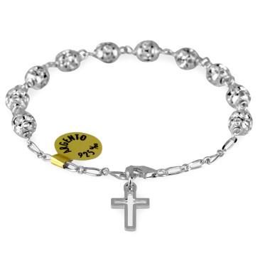 Catholic Swarovski Crystals Rosary Bracelet w/ Silver Capped Beads