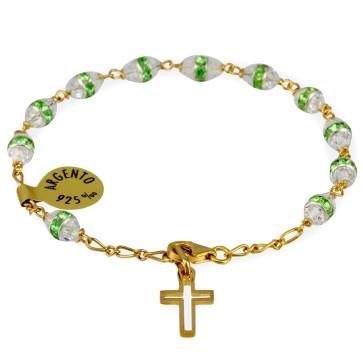 Gold Plated Catholic Rosary Bracelet w/ Green Swarovski Crystals