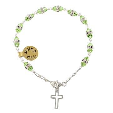 Catholic Rosary Bracelet w/ Green Swarovski Crystal Beads