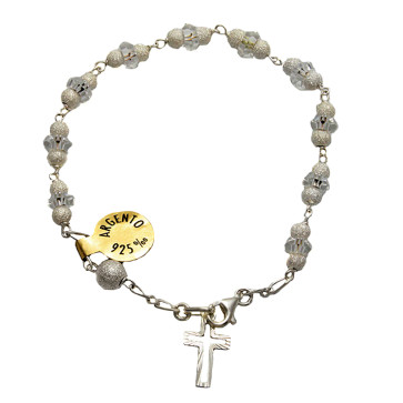 Diamond Dust w/ Crystal Beads Catholic Rosary Bracelet