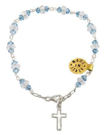 Catholic Rosary Bracelet with Sapphire Swarovski Crystal Beads
