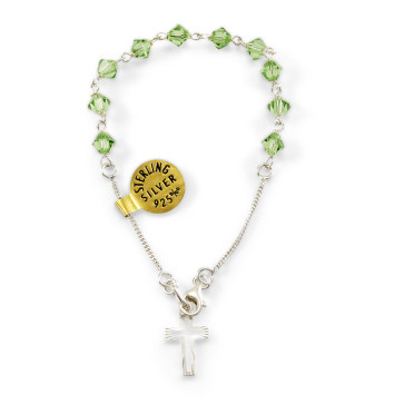 Swarovski Green Crystal Beads Rosary Catholic Bracelet