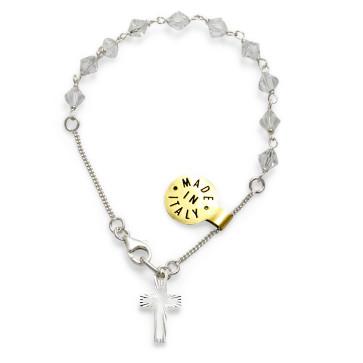 Swarovski Diamond Crystal Beads Catholic Rosary Bracelet