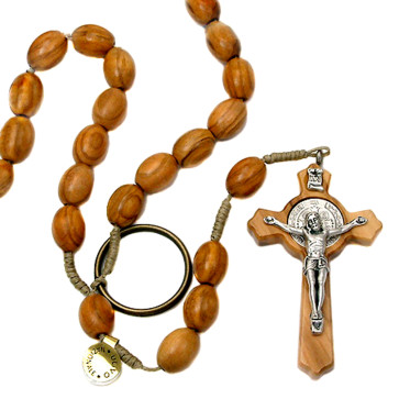 St Benedict Wooden String Catholic Rosary