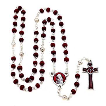 Red Wooded Beads Rosary