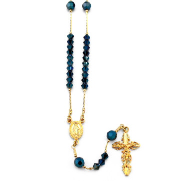 Gold Plated Rosary with Blue Swarovski Crystal Beads