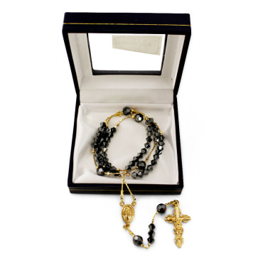 Gold Plated Rosary with Black Swarovski Crystal Beads and Clasp