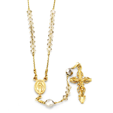 gold Plated Rosary with Clear Swarovski Crystal Beads and Clasp