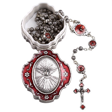 Holy Spirit Catholic Rosary Gift Set - Open
