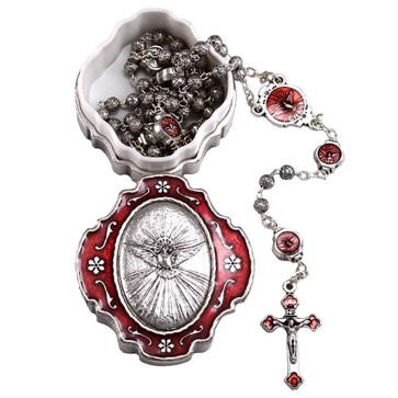 Holy Spirit Catholic Rosary Gift Set - Open