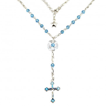 Catholic Rosary Necklace w/ Swarovski Crystal Beads