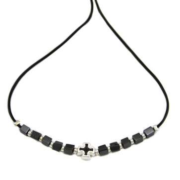 Hematite Beads Catholic Rosary Necklace