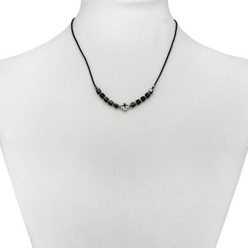 Hematite Beads Catholic Rosary Necklace
