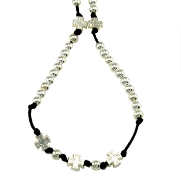Catholic Rosary Necklace w/ Polished Silver Beads