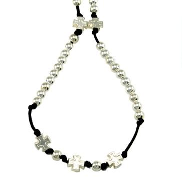 Catholic Rosary Necklace w/ Polished Silver Beads