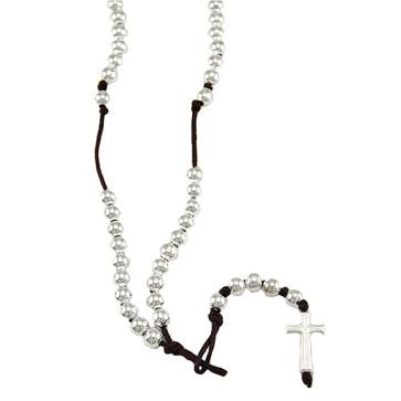 Polished Beads Catholic Rosary Necklace