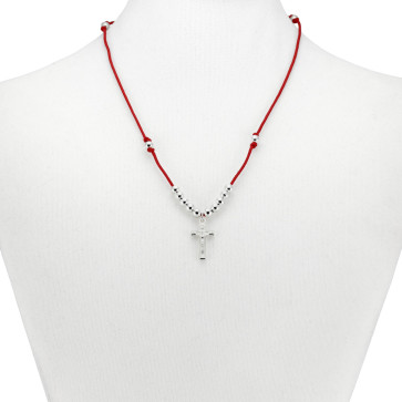 Red String Rosary Catholic Necklace
