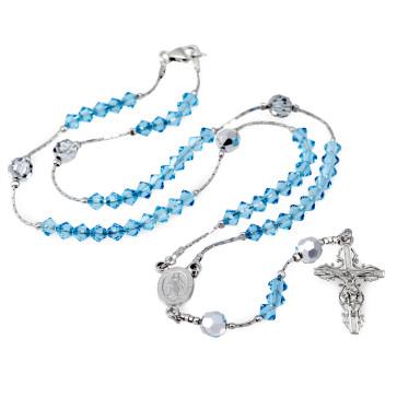 Catholic Aqua Swarovski Crystal Beads Rosary w/ Clasp