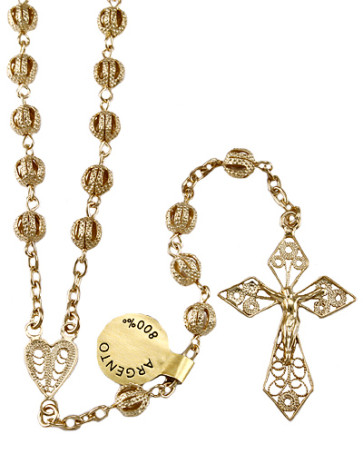 Gold over Sterling Silver Beads Catholic Rosary
