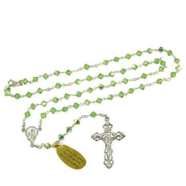 Green Swarovski double cone Crystal Beads Rosary with clasp
