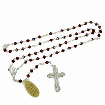 Rosary with Red Swarovski Crystal Beads and Clasp
