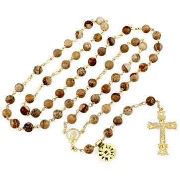 Gold Rosary with Stone Beads