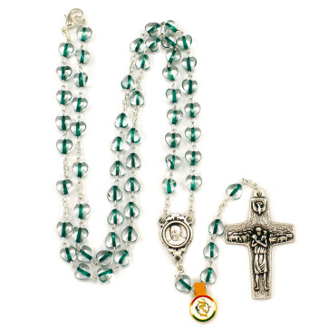 Green Hearts Beads Rosary Necklace Pope Francis