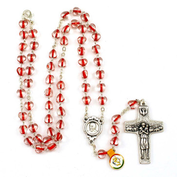 Red Hearts Rosary Necklace with Pope Francis Cross
