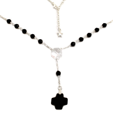 Rosary Necklace w/ Swarovski Crystal Beads