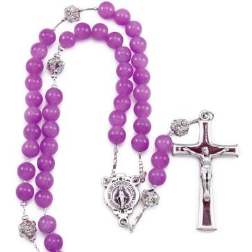 Catholic Rosary with Amethyst Jade Stone